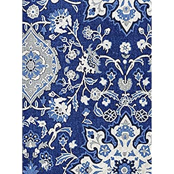 Ralph Lauren Chambers Medallion Indigo Tablecloth, 60 By 84 Inch Oblong  Rectangular