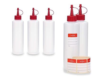 5 x 250 ml Octopus HDPE botellas de plástico, por ejemplo para cigarrillo S de