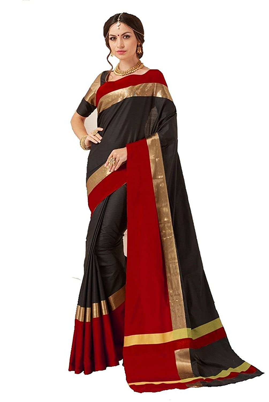 819815082fd20 Perfectblue Women`s Cotton Saree With Blouse Piece(PB0brownblueviswa Brown)  (black)  Amazon.in  Clothing   Accessories