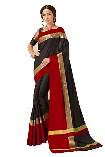 8f51db3f09c955 Perfectblue Women`s Cotton Saree With Blouse Piece(PB0brownblueviswa Brown)  (black)
