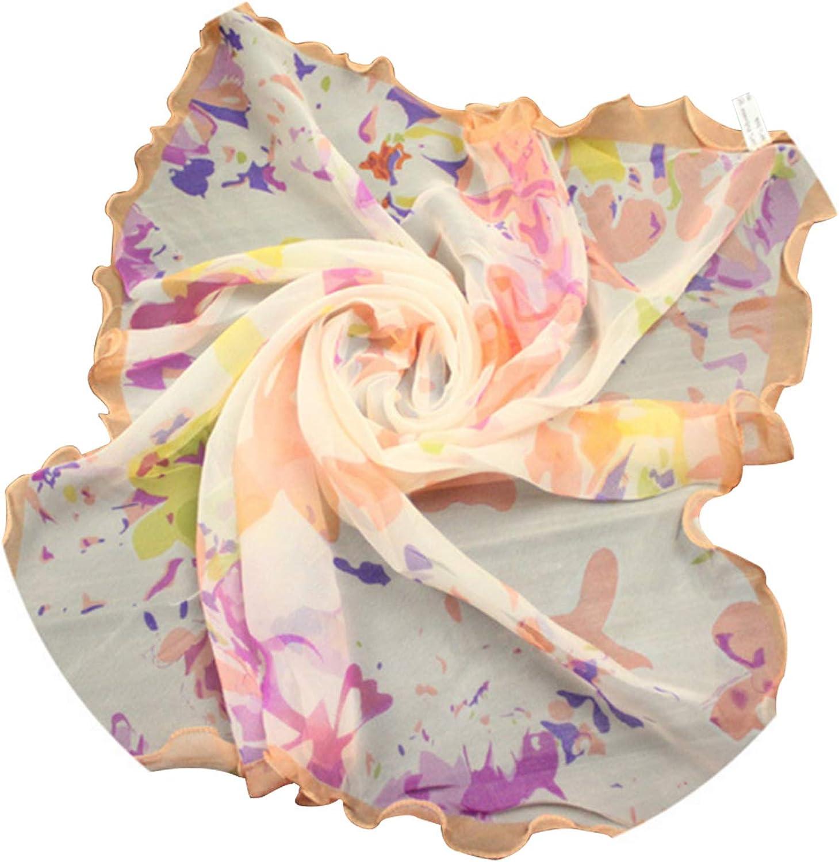 Jueshanzj Femme Foulards en mousseline motifs des fleurs