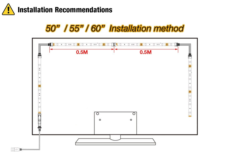 LED TV Backlight,ViLSOM Powered USB LED Strip Lights 6.56Ft for 40 to 60 Inch HDTV - Bias Lighting with 24keys Romote Control RGB Lighting by ViLSOM (Image #7)