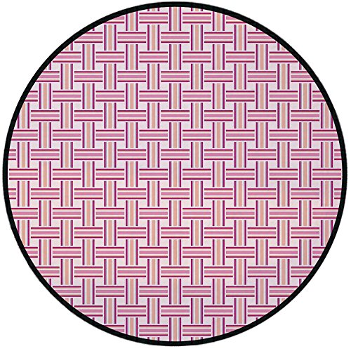 Printing Round Rug,Geometric,Crossed Stripes Bold Lines Bands Lattice Mesh Like Pattern Classical Mat Non-Slip Soft Entrance Mat Door Floor Rug Area Rug For Chair Living Room,Pink Magenta - Qx56 Mesh