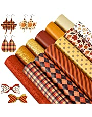 Whaline Fall Faux Leather Sheets 8 x 12 Inch Plaids Stripe Maple Leaves Synthetic Leather Fabric Glittery Orange Red Gold Faux Leather for Autumn Harvest Thanksgiving DIY Craft Earring Hair Bow, 12Pcs