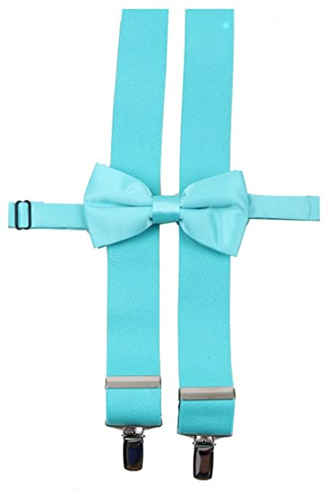 Tiffany Blue Solid Color Mens Suspender Bow Tie Set Made In Usa