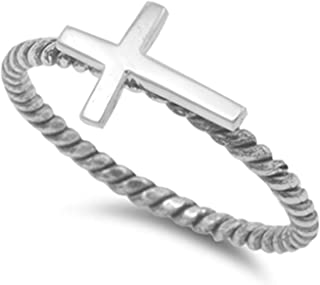 Lanbay Sterling Silver Side Cross with Twisted Band Ring