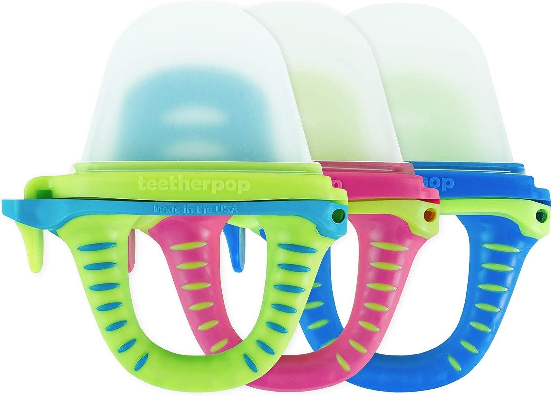 teetherpop 3 Pack - Fillable Teethers for Babies, Breastmilk, Purees, Water, Smoothies, Juice, Baby Food & More (Blue, Pink & Teal)