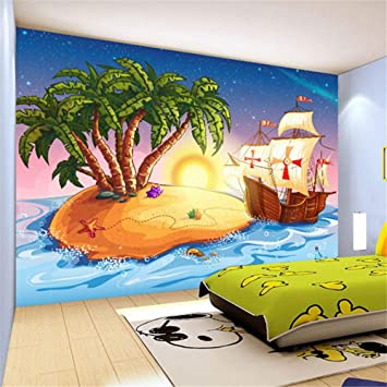 zyyaky Tapete 3D Tapete Cartoon Piraten Schiff Fototapete ...