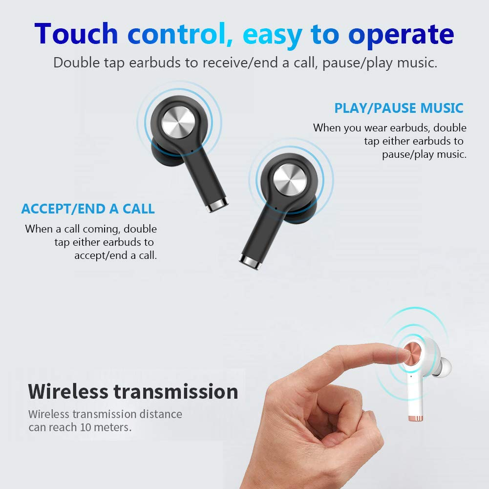 DABAOZA Language Translator Device, iOS Bluetooth Earbuds Voice Translator - Support 20 Languages & 19 Accents, Smart Portable Instant Translator with APP Including Micro USB Charging Case - Black by DABAOZA (Image #5)