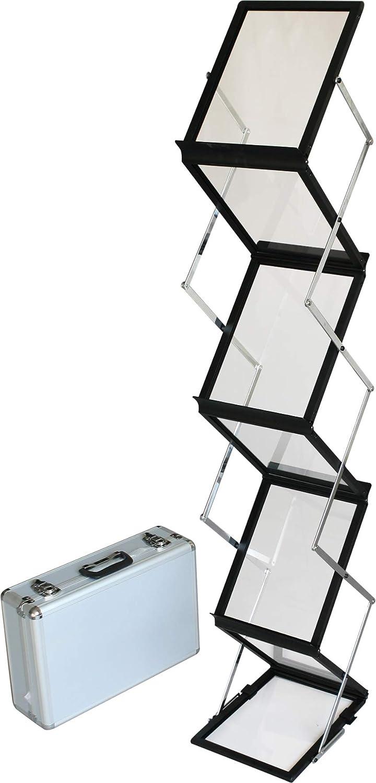 Inkl Bodenprospektst/änder Falt-Prospektst/änder Hochformat DISPLAY SALES Prospektst/änder schwarz FALTBAR 6 x DIN A4 aus ALU//ACRYL Alu-Transportkoffer