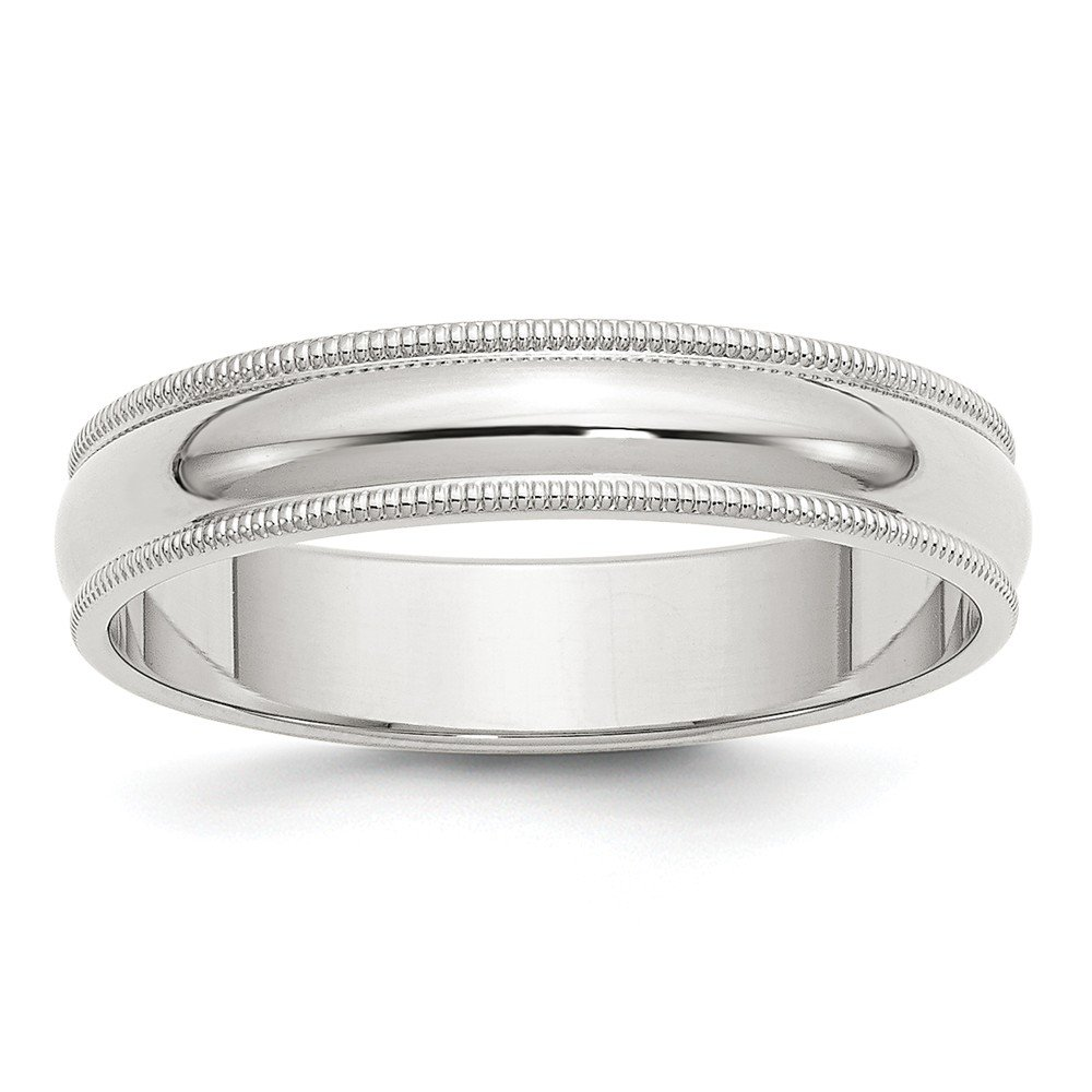 5mm High Polish Finish Half Round Domed Milgrain Sterling Silver Wedding Band - Size 6