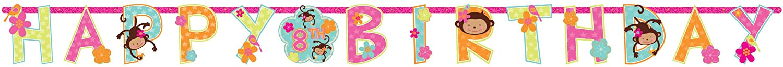 Amscan Sweet Monkey Loveカスタマイズ可能なadd-an-ageジャンボ誕生日パーティー文字バナー装飾1ピース、10 1 / 2 ' x 10インチ、マルチカラー   B00767PTBU