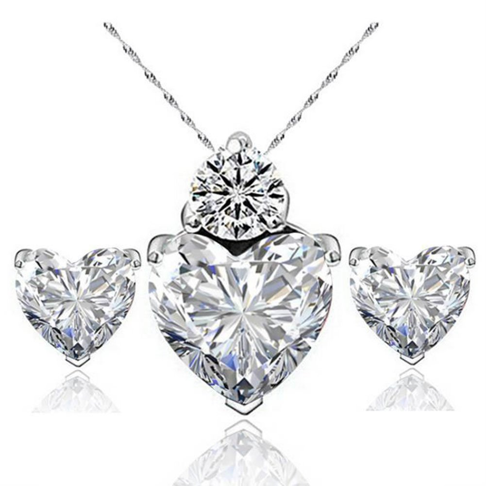 Pack of 2 Shuda Heart Shaped Crystal Pendant Necklace Earrings Set for Birthday Anniversary Wedding Women Jewellery Gifts