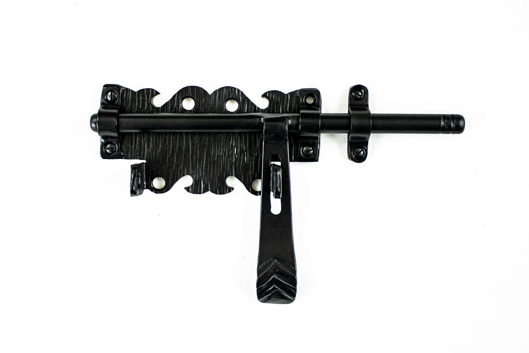Barrel Bolt 9'' for Doors or Gates Rustic Hammered Iron Black Finish Hand Crafted Borderland Rustic Hardware