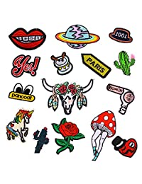 elegantstunning 15pcs A Set of_Multiple Patterns Multiple Patterns Patches for Clothing Iron on Embroidered Appliques Summer Clothes Fabric Badges DIY Apparel Accessories