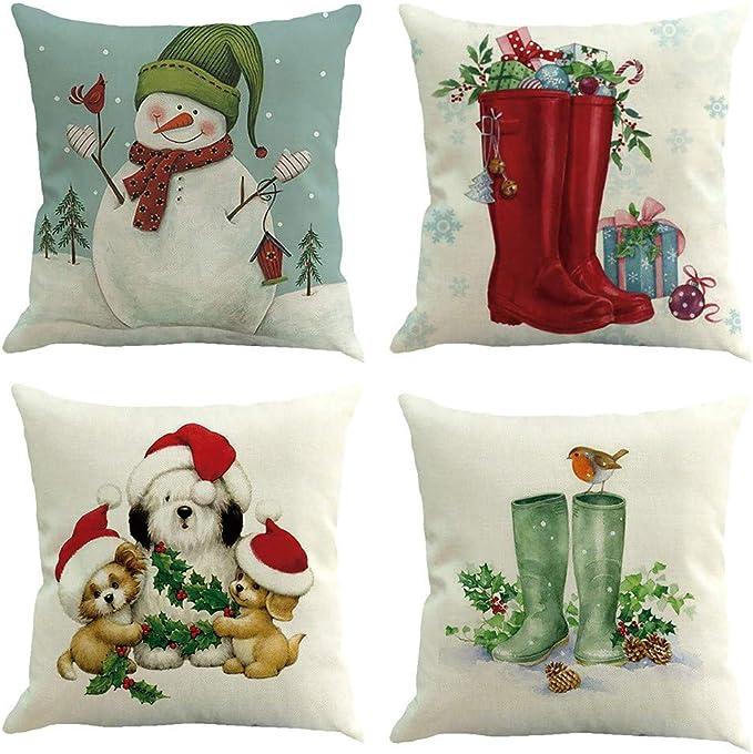 Federe Cuscini Natale.Elecenty Federe Cuscini Lino In Cotone Natale 4pc Fodera Per