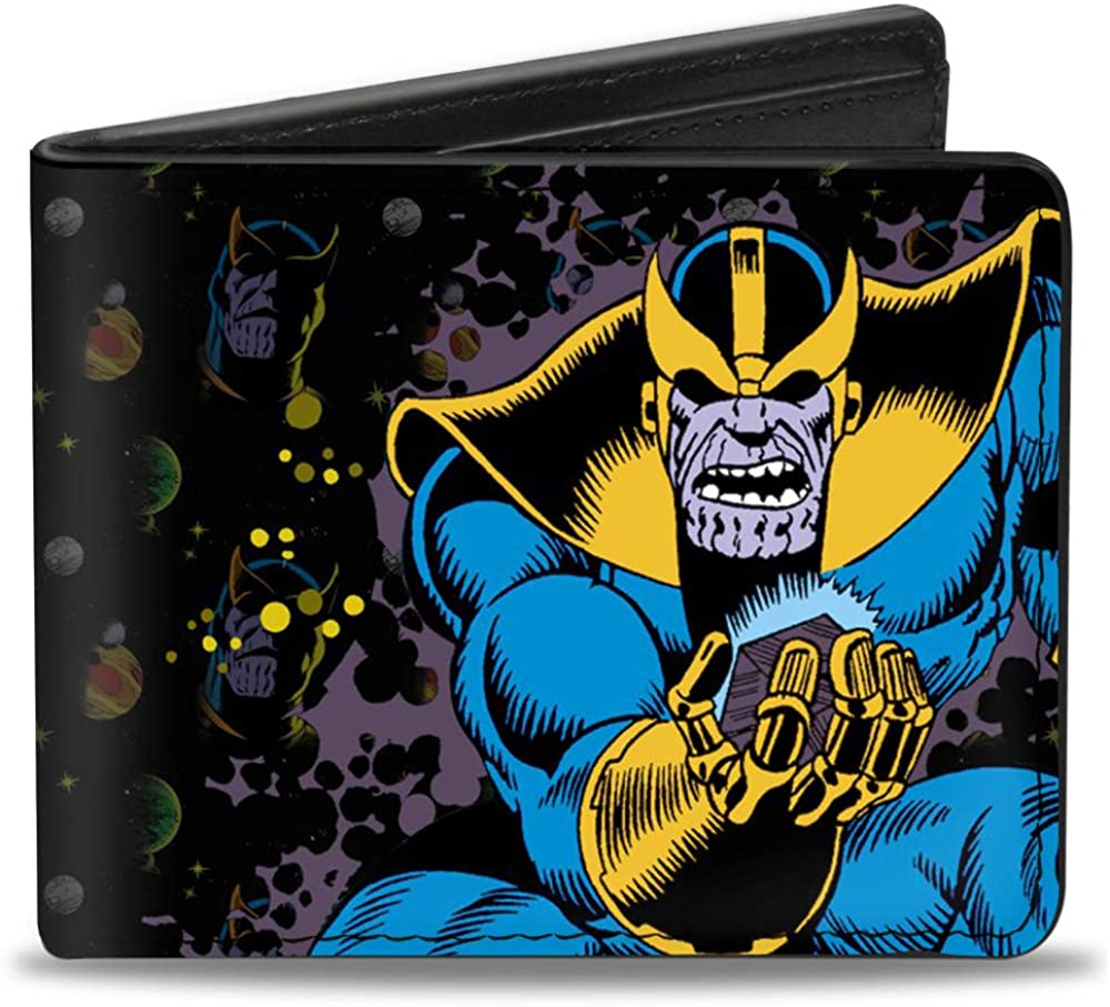 Wallet Bifold PU Thanos Holding Cosmic Cube Pose Text Logo Face Planets