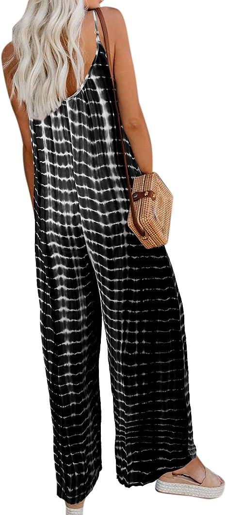 Style Dome Jumpsuit Damen Elegant Playsuit Sommer Loose Hosenanzug Wide Leg Sommerhose Mit Tr/äger Verstellbar