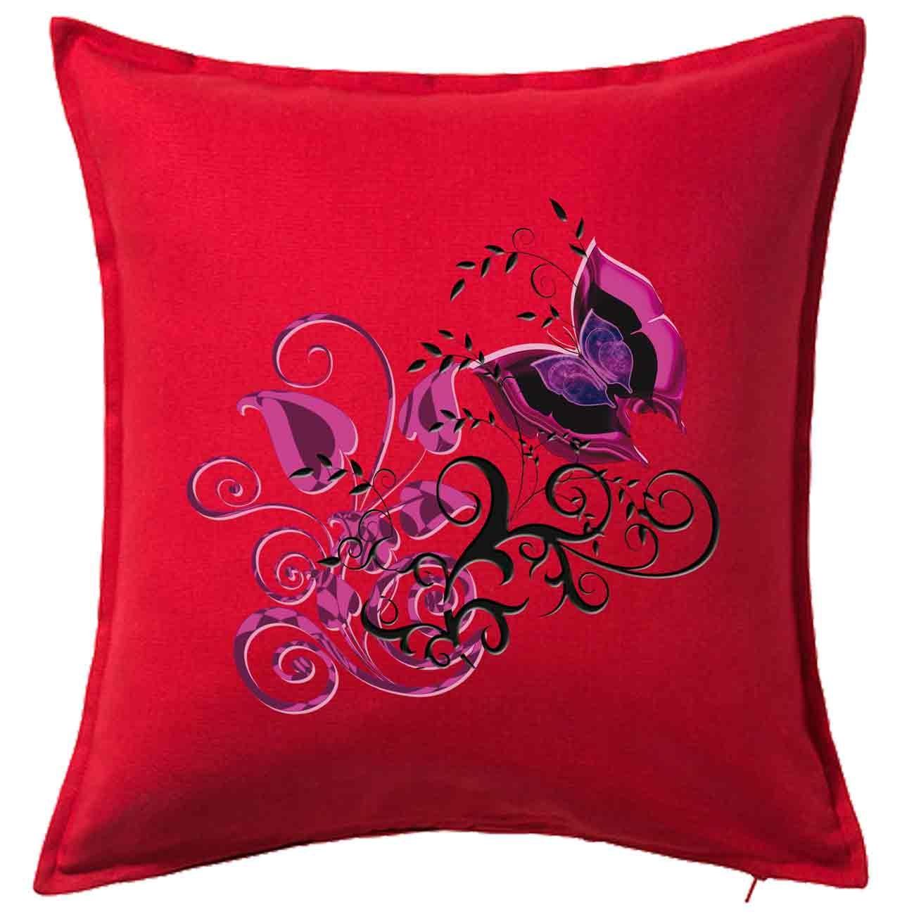 Housse De Coussin D Cor E 50×50 Cm 100 Coton Papillon Rose Fushia