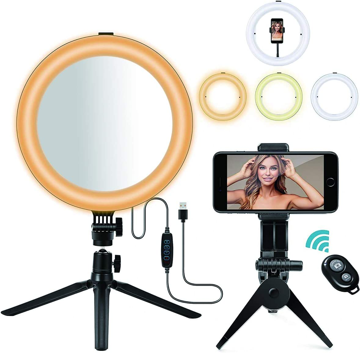 """LED Ring Light, MACTREM 10"""" Selfie Ring Light with Tripod Stand & Mirror & Phone Holder, Dimmable Desk Makeup Ring Light Perfect for Live Streaming & YouTube Video, Photography"""