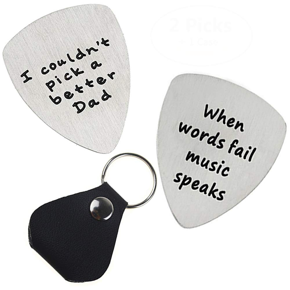 I Couldn't Pick A Better Uncle Musical Guitar Pick Jewelry Gift for Uncle 2 Pack with 1 Leather Guitar Pick Holder Yestelle
