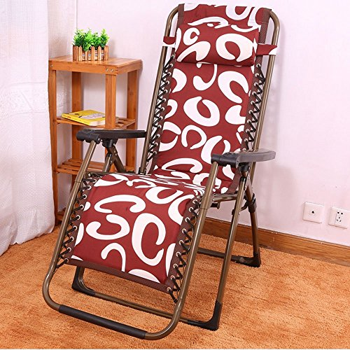 DIDIDD Plus cotton thick folding chairs recliner reinforced steel pipe folding chairs afternoon chair lazy loungers (style optional),A by DIDIDD (Image #1)