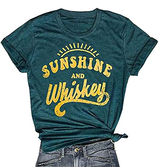 c27f2b9446 FENKAY Women Sunshine and Whiskey Short Sleeve T-Shirt Funny Letters Print  O-Neck Tops Tees at Amazon Women's Clothing store: