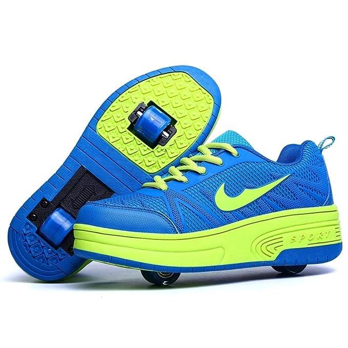 LHWAN Zapatillas de rodillo unisex zapatillas de ruedas simples/dobles con ruedas invisibles retráctiles intermitentes zapatillas deportivas al aire libre: ...