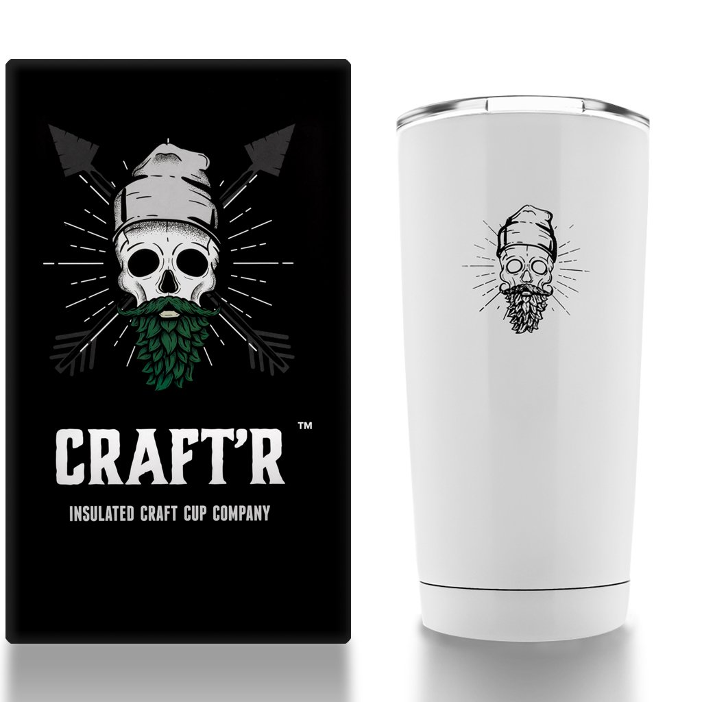 Craftr 断熱ビールカップ – ステンレススチール真空断熱タンブラー – 完璧な味の温度でビールを保持  グロスホワイト B01N7W57TG