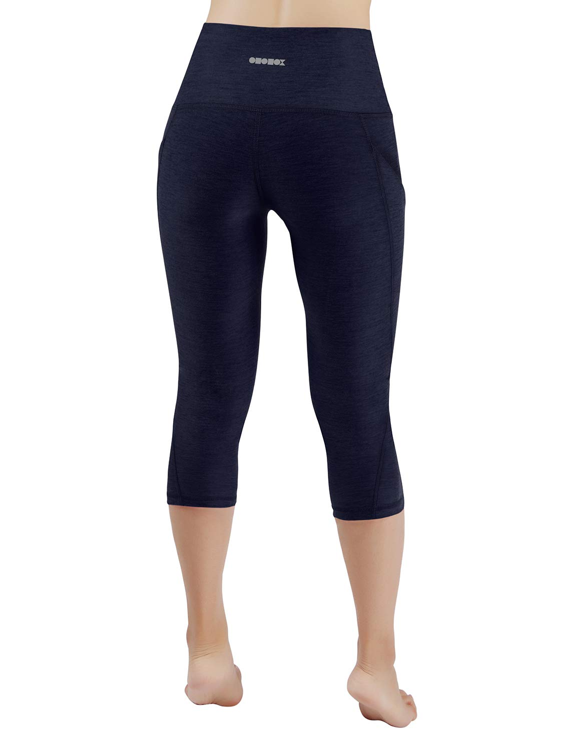 ODODOS High Waist Out Pocket Yoga Capris Pants Tummy Control Workout Running 4 Way Stretch Yoga Leggings,Navy,X-Small by ODODOS (Image #3)