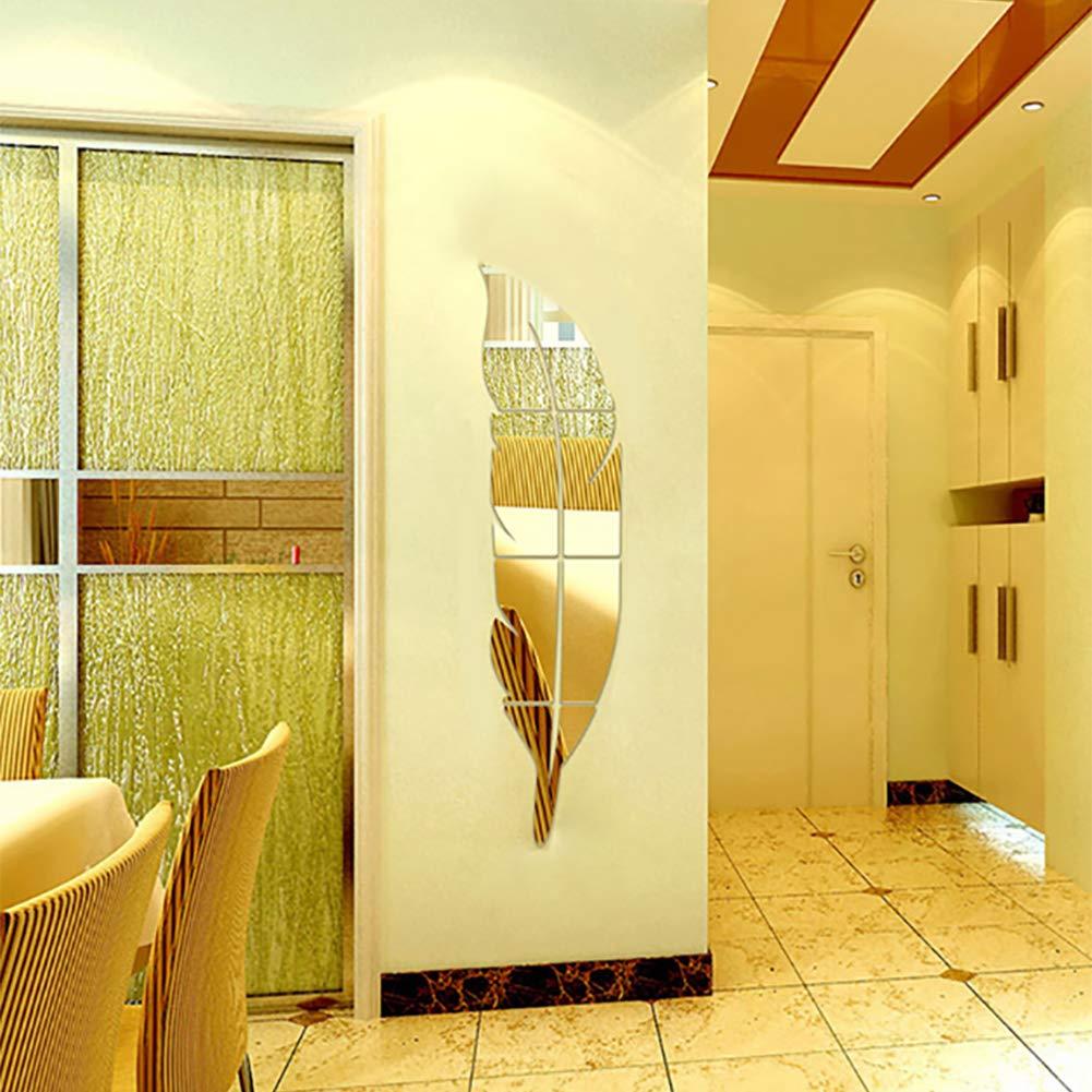 Plata Ver Muro 3D Etiqueta Pluma del Espejo DIY del Arte de la Etiqueta Pegatinas de Vinilo Etiqueta de la Pared removible para la decoraci/ón del hogar