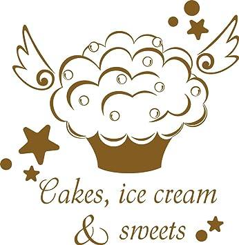 GRAZDesign Wandtattoo Küche lustig Cake - Wandtattoo sprüche Küche Cupcake  - Tattoo Küche Sprüche - Wandtattoo Küche Dessert / 59x57cm / gold / ...