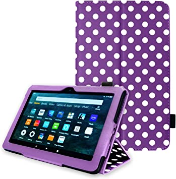 TECHGEAR Smart Case Designed For All New  Fire HD 8 // HD 8 Plus 2020 // 10th Generation Slim PU Leather Folio Smart Stand Case Cover with Hand Strap with Auto Wake//Sleep Purple