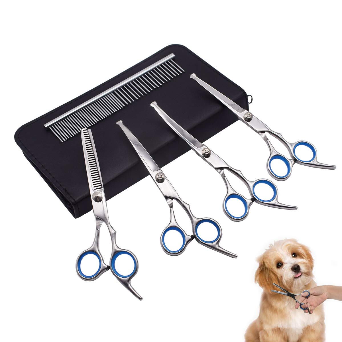 PetQoo Dog Grooming Scissors Set Professional Pet Grooming Scissors kit with Straight for Curved Scissors Suitable for Large and Small Dogs or Cat or Other Pets