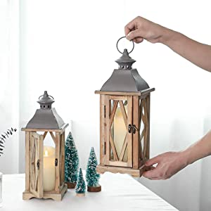 2 Pack 15 x 5 x 5 Inches Wood Wooden Decorative Glass Candle Lantern Vintage Rustic Large Hanging Candle Holder for Indoor Outdoor Use,Set of 2