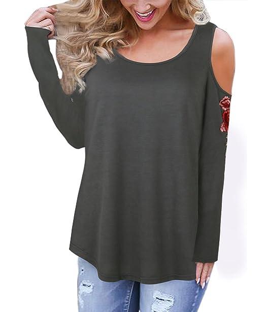 Las Mujeres Camisetas De Mujer Largas Cuello Redondo Tops Bordadas De Flores Hombros Descubiertos Elegante Vintage