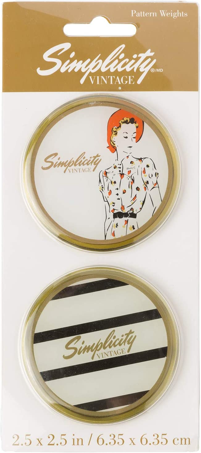 Simplicity Vintage 1950's Fashion Striped Domed Paperweights, 2pc, 2.5'' D
