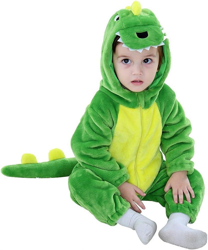 LOLANTA Unisex Baby Dinosaurier Drache Strampler Kapuzen-Winter-Flanell-Pyjama Halloween-Kost/üm f/ür Kleinkinder