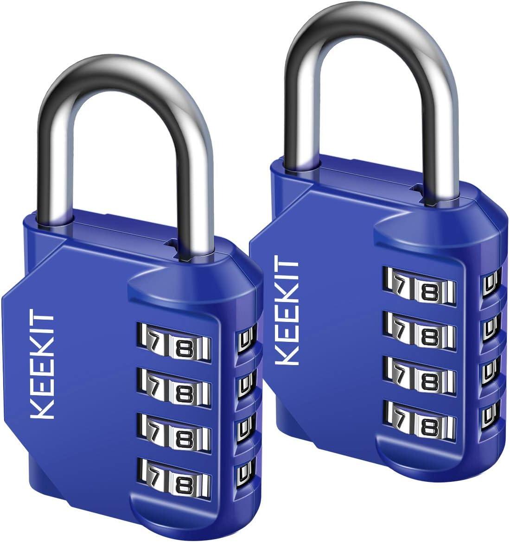 KeeKit Combination Lock, 4 Digit Combination Padlock, Waterproof Gate Lock, Resettable Combo Lock for Locker, Gym, Cases, Toolbox, School, 2 Pack - Blue