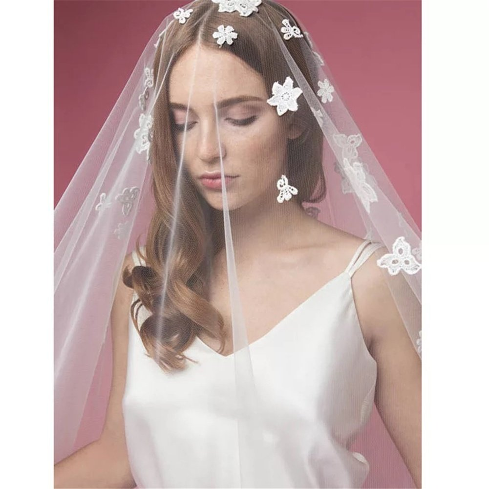 1T Ivory Bridal Veils Cathedral Length Veil with Cut Edge and Floral Embroidery Appliques Design Wedding Accessories