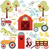RoomMates RMK1604SCS Happi Barnyard Peel and Stick Wall Decals