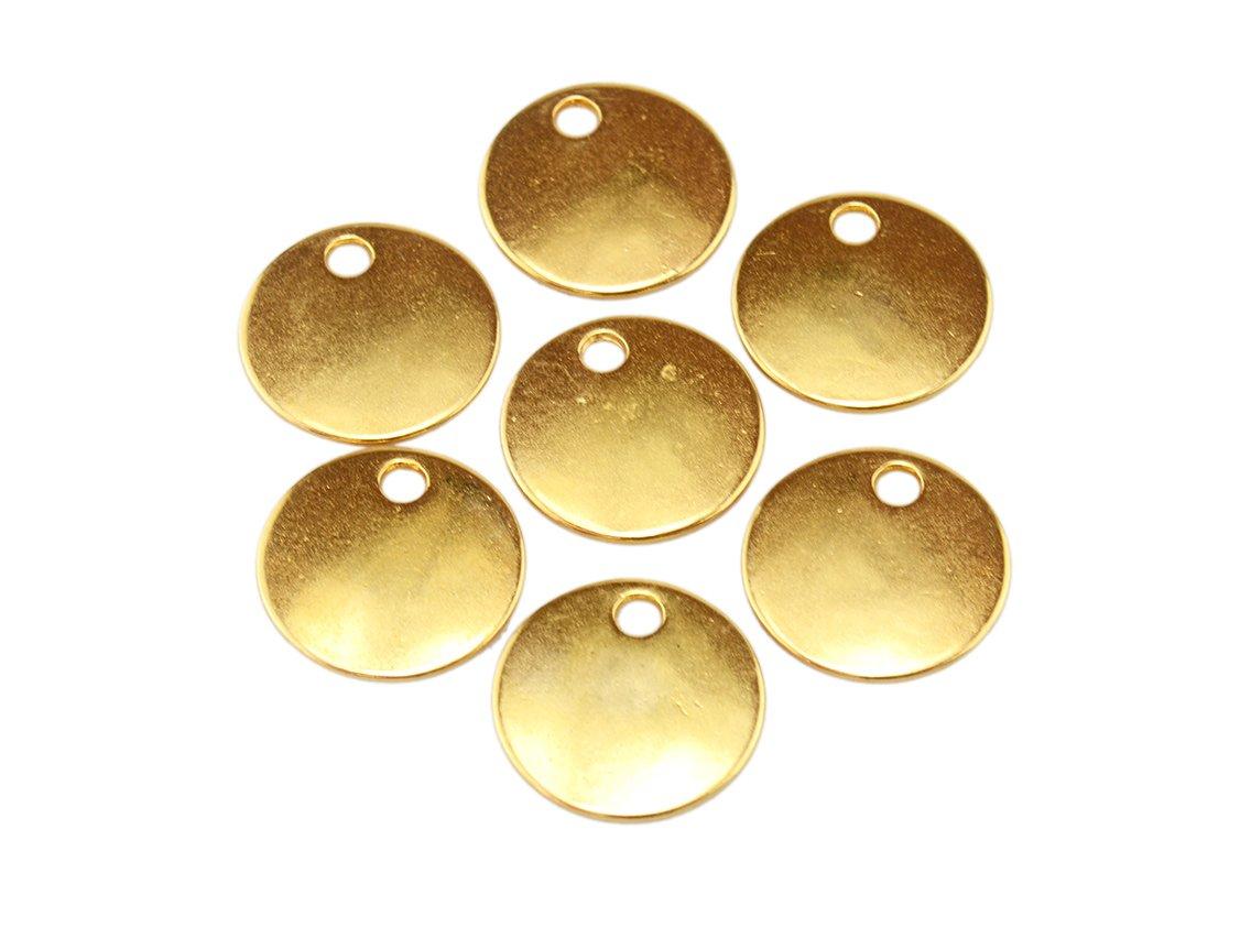 runde Anh/änger als Pl/ättchen in goldfarben 16mm 10 St/ück von Vintageparts Anh/ängerpl/ättchen goldfarbender Anh/ängerschmuck