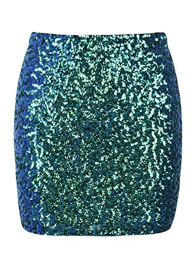 kayamiya Women's Sequin Cocktail Skirt Sparkle Bodycon Mini Club Skirt XL/US 12-14 Symphony - Skirt Sparkle Mini