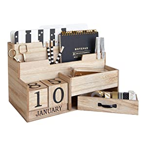 Wooden Mail Organizer Desktop with Block Calendar – Mail Sorter Countertop Organizer – Desk Decorations for Women Office