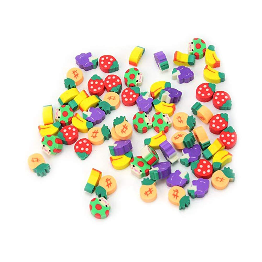 Gomme de fruits Crayon Top Gomme Caps mignon amovible Stationery Gomme pour les fournitures d'é tude enfants nouveaux jouets de couleurs assorties 50pcs mxdmai