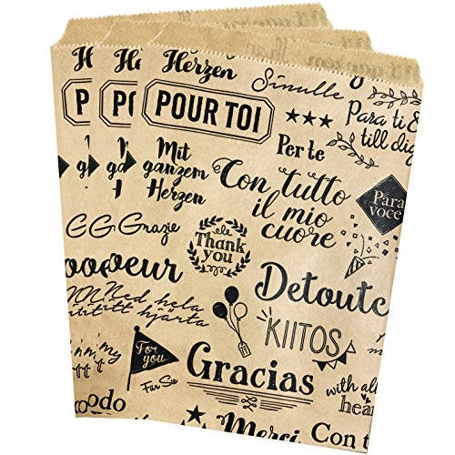 Paper Treat Sack - Thank You Gift Bag - Merchandise Bags- Kraft Brown and Black - Thank You From Around the World Theme - 5 x 6 Inches - 48 Pack (Sacks Treat)