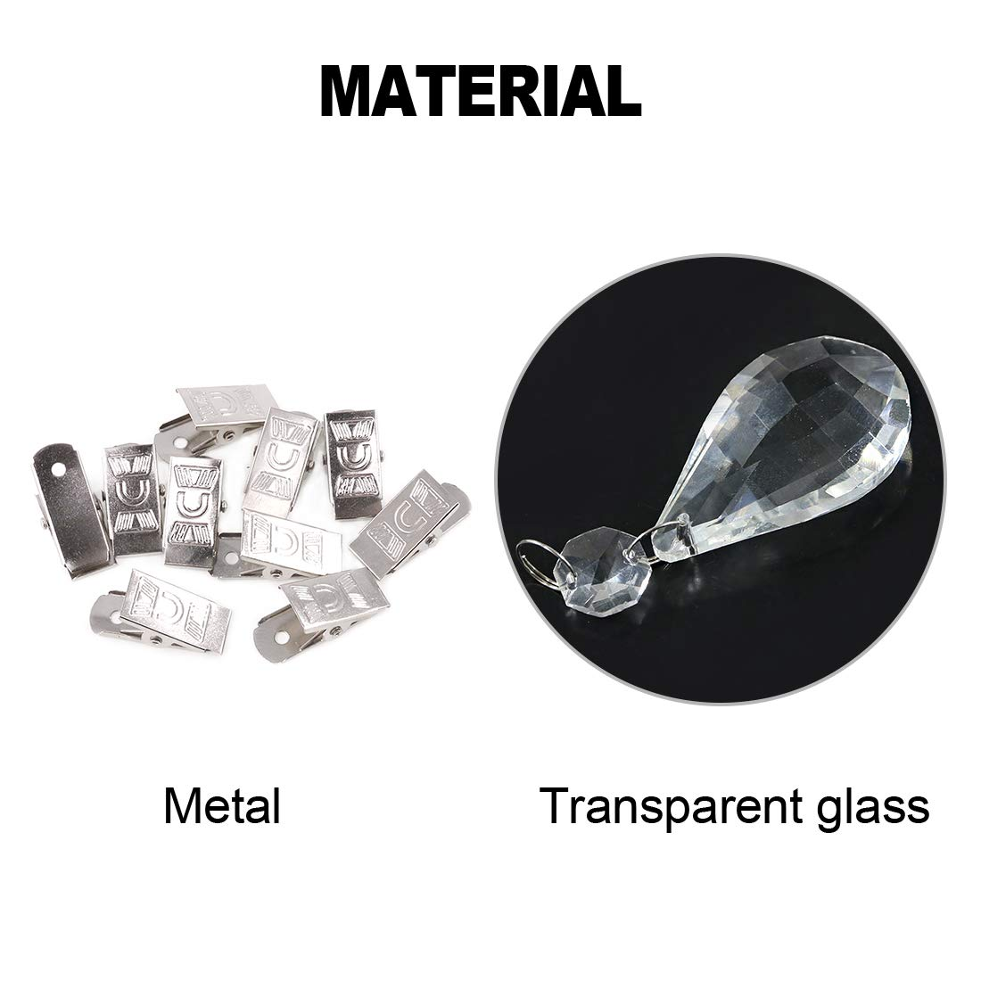 Glarks Tablecloth Weights Set Lute 10Pcs Metal Clip AB Crystal Glass Teardrop Prisms Pendant Tablecloth Weights for Picnic Tables Tablecloth Weights Heavy Outdoor