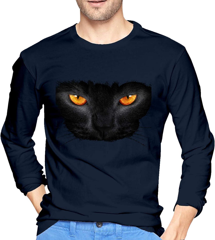 Amazon Com Black Cat With Orange Eyes Men S Long Sleeve T Shirt Cotton Comfortable Casual Fashion Tees Tops Clothing