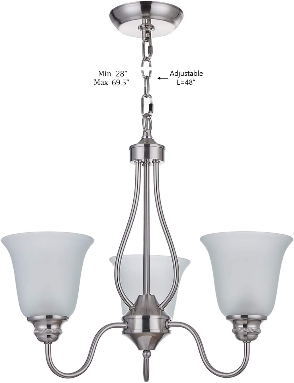 Doraimi 3 Light Chandelier with Brushed Nickel Finish, Classic Style Ceiling Light Fixture with Frosted Glass Shade for Meeting Room Dining Room Living Room Corridor, LED Bulb not Include
