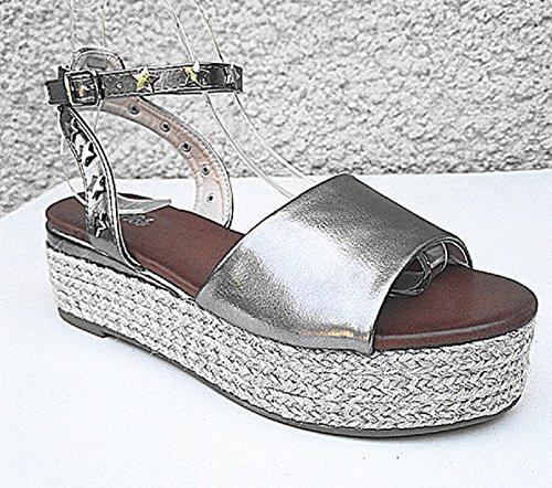 Style Cloutée 6 Sandales Talons A8067 Espadrille Bride Gris CM fashionfolie à Compensée Femme qRHwn840